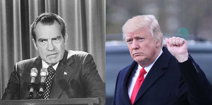 Pres. Richard Nixon (left) and President Donald Trump (right) (Steve Northup/The LIFE Images Collection/Getty Images & Mark Wilson/Getty Images)