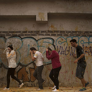 Medical students throw food at freshers of the Faculty of Medicine during a hazing at the University of Granada, in Granada on October 17, 2013.  (Jorge Guerrero/AFP/Getty Images)
