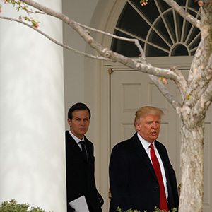 U.S. President Donald Trump, along with (R-L) White House Senior Advisor Jared Kushner, White House Chief of Staff Reince Priebus, and White House Senior Advisor Stephen Miller, walk through the colonnade as they depart the White House in Washington, U.S., March 15, 2017.  (Kevin Lamarque/Reuters)
