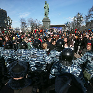 MOSCOW, RUSSIA - MARCH 26, 2017: Riot police block participants in Russian opposition activist Alexei Navalny's anti-corruption rally in Pushkin Square. The event has not been authorized by the Moscow Government. Dmitry Serebryakov/TASS (Dmitry Serebryakov/TASS/Getty Images)