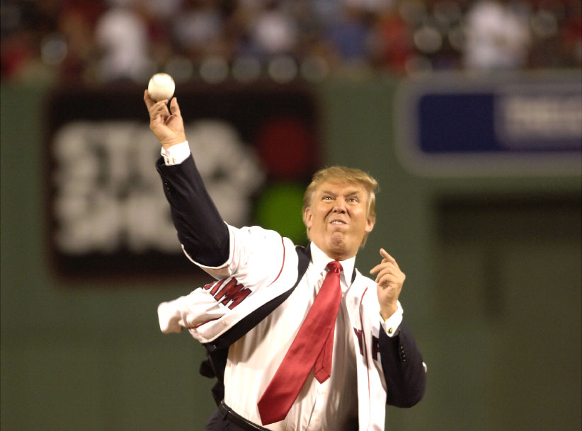Donald Trump throws out the ceremonial first pitch before the start of the second game of a day-night double header between the Boston Red Sox and New York Yankees at Fenway Park, 2006.  (Howard Earl Simmons/NY Daily News Archive/Getty Images)