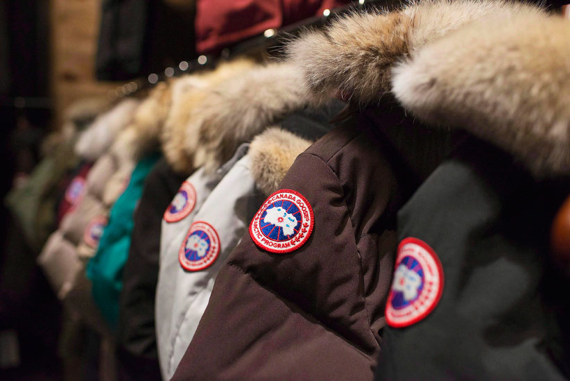 Jackets are on display at the Canada Goose Inc. showroom in Toronto. (Aaron Vincent Elkaim/CP)