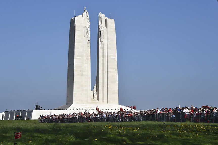 A picture shows the Canadian National Vimy Memorial in Vimy, near Arras, northern France, on April 9, 2017, during a commemoration ceremony to mark the 100th anniversary of the Battle of Vimy Ridge, a World War I battle which was a costly victory for Canada, but one that helped shape the former British colony's national identity. (Philippe Huguen/AFP/Getty Images)
