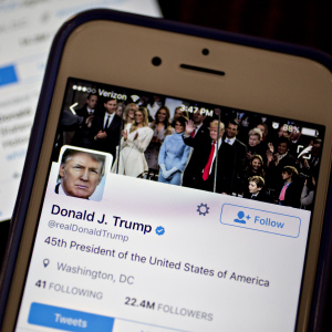 The Twitter Inc. accounts of U.S. President Donald Trump, @POTUS and @realDoanldTrump, are seen on an Apple Inc. iPhone arranged for a photograph in Washington, D.C., U.S., on Friday, Jan. 27, 2017. Mexican President Enrique Pena Nieto canceled a visit to the White House planned for next week after Trump on Thursday reinforced his demand, via Twitter, that Mexico pay for a barrier along the U.S. southern border to stem illegal immigration. (Andrew Harrer/Bloomberg/Getty Images)