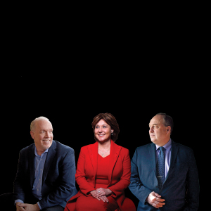 BC NDP leader John Horgan; BC Liberal leader Christy Clark; BC Green Party leader Andrew Weaver