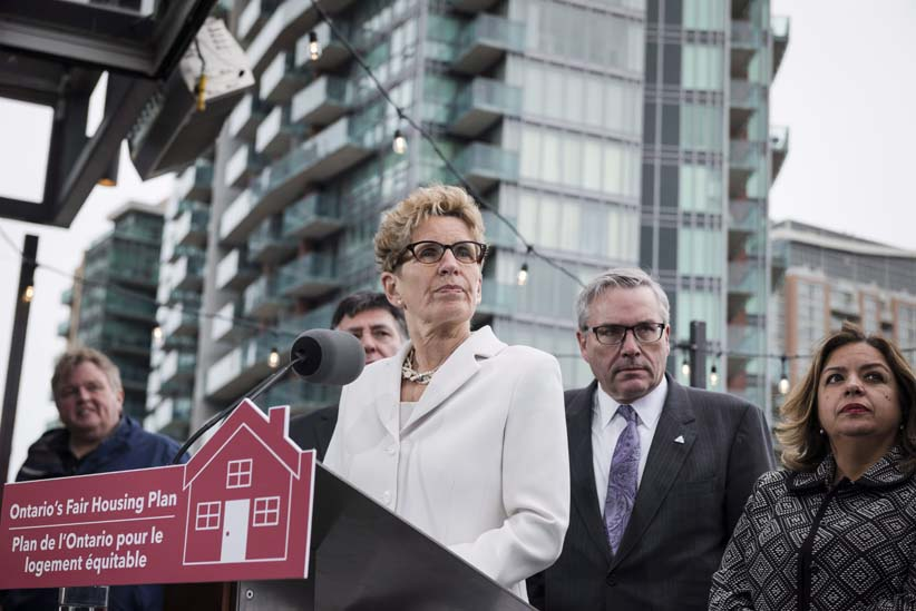 Ontario Premier Kathleen Wynne speaks about Ontario's Fair Housing Plan during a press conference in Toronto on Thursday, April 20, 2017. (Christopher Katsarov/CP)