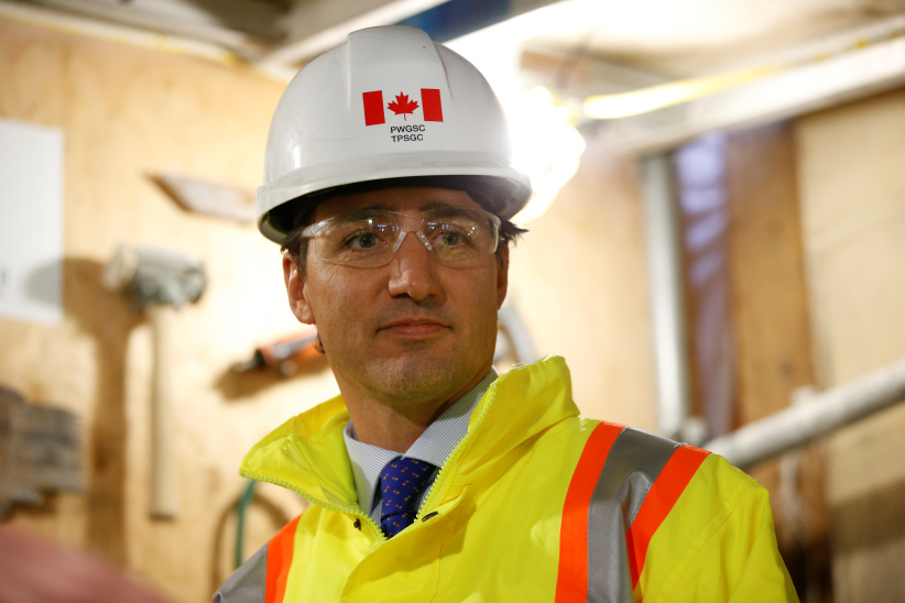 Canada's Prime Minister Justin Trudeau takes part in an event marking the completion of masonry work on West Block on Parliament Hill in Ottawa, Ontario, Canada, February 1, 2017. (Chris Wattie/Reuters)