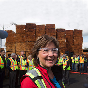 Liberal Leader Christy Clark greets workers during a campaign stop at CedarLine Industries, a manufacturer of western red cedar products, in Surrey, B.C., on Monday April 24, 2017. A provincial election will be held on May 9. (Darryl Dyck/CP)