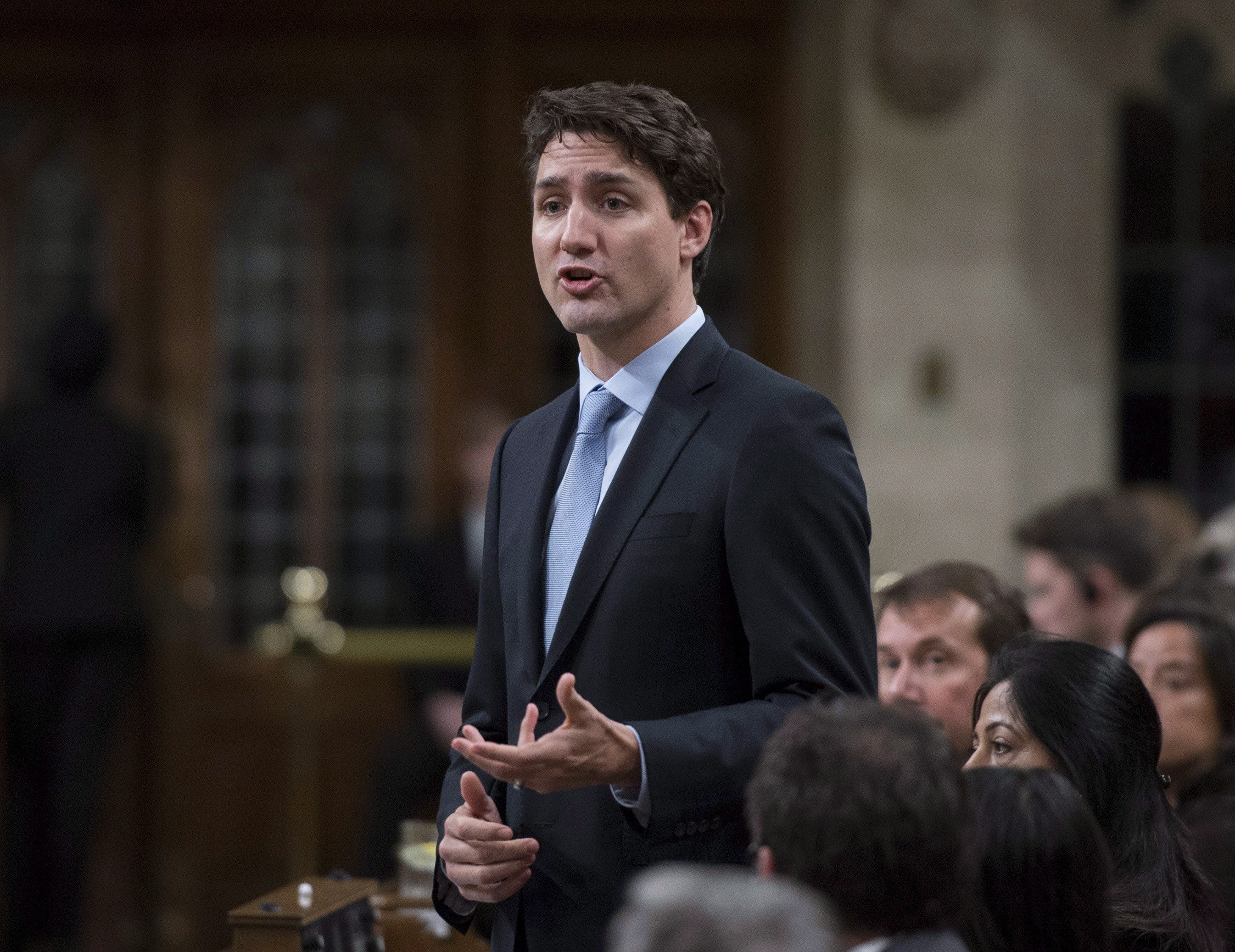 Prime Minister Justin Trudeau responds to a question on the situation in Syria during question period in the House of Commons on Parliament Hill in Ottawa on Friday, April 7, 2017. THE CANADIAN PRESS/Justin Tang