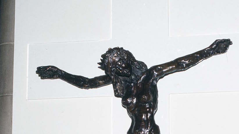 Close-up of 'Christa,' a bronze figure of a crucified woman, in the Cathedral of St John's the Devine, New York, New York, June 6, 1984. (Robert R. McElroy/Getty Images)