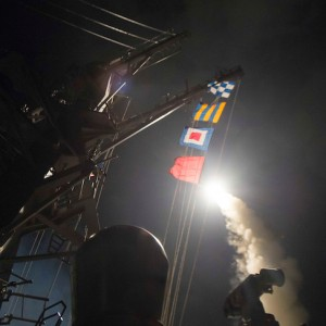 U.S. Navy guided-missile destroyer USS Ross (DDG 71) fires a tomahawk land attack missile in Mediterranean Sea on April 7, 2017.   Robert S. Price/Courtesy U.S. Navy/Handout via REUTERS   ATTENTION EDITORS - THIS IMAGE WAS PROVIDED BY A THIRD PARTY. EDITORIAL USE ONLY. - RTX34H98