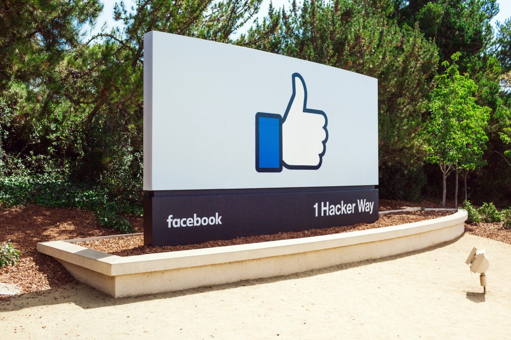 The sign outside the main entrance to Facebook HQ. Image via Facebook.