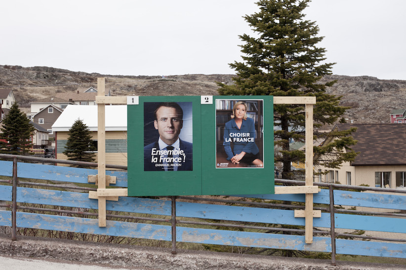 Election signs in Saint-Pierre and Miquelon, a French enclave off the southern coast of Newfoundland (Photograph by Nick Kohler)