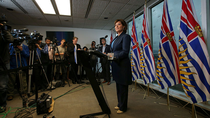 British Columbia's Premier Christy Clark speaks to the media in Vancouver, British Columbia, Canada May 30, 2017. (Ben Nelms/Reuters)