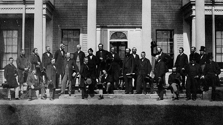 CHARLOTTETOWN, P.E.I.-September 11,1864- Constitutional Convention at Charlottetown, P.E.I., of Delegates from the Legislature of Canada, New Brunswick, Nova Scotia, and Prince Edward Island to take into consideration the Union of the British North American Colonies 1. Col. Hon. John Hamilton Gray, M.P.P. P.E.I. (Chairman of Convention) 2. Hon. John A. McDonald, M.P.P. Attorney General, Canada West 3. Hon. George E. Curtier, M.P.P. Min. of Agriculture 4. Hon. Thomas D'Arcy McGee, M.P.P., Min. of Agriculture 5. Hon. Wm. A. Henry, M.P.P., Attorney General, N.S. 6. Hon. Wm. II, Steeves, M.E.C., N.B. 7. Hon. John M. Johnson, M.P.P. Attorney General, N.B. 8. Hon. Samuel Leonard Tilley, M.P.P., Prov. Secretary, N.B. 9. Hon. R. Dickey, M.L.C. N.S. 10. Lt. Col. Hon. J.H. Gray, M.P.P., N.B. 11. Hon. E. Palmer, M.L.C. Attorney General, P.E.I. 12. Hon. E. Botsford Chandler, M.L.C., N.B. 13. Hon. H.L. Langevin, M.P.P., Solicitor General, Canada East. 14. Hon. Charles Tupper, M.P.P., Provincial Secretary, N.S. 15. Hon. A.J. Galt, M.P.P., Finance Minister. 16. Hon. Adams G. Archibald, M.P.P., N.S. 17. Hon. A.A. McDonald, M.L.C., P.E.I. 18. Hon. Abt. Campbell, M.L.C. Commissioner of Crown Land. 19. Hon. Wm. McDougall, M.P.P., Provincial Secretary. (G.P. Roberts/National Archives of Canada/CP)