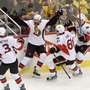 May 13, 2017; Pittsburgh, PA, USA; Ottawa Senators right wing Bobby Ryan (9) celebrates with teammates after scoring the over time goal to defeat the Pittsburgh Penguins in game one of the Eastern Conference Final of the 2017 Stanley Cup Playoffs at PPG PAINTS Arena. (Don Wright/USA Today Sports/Reuters)