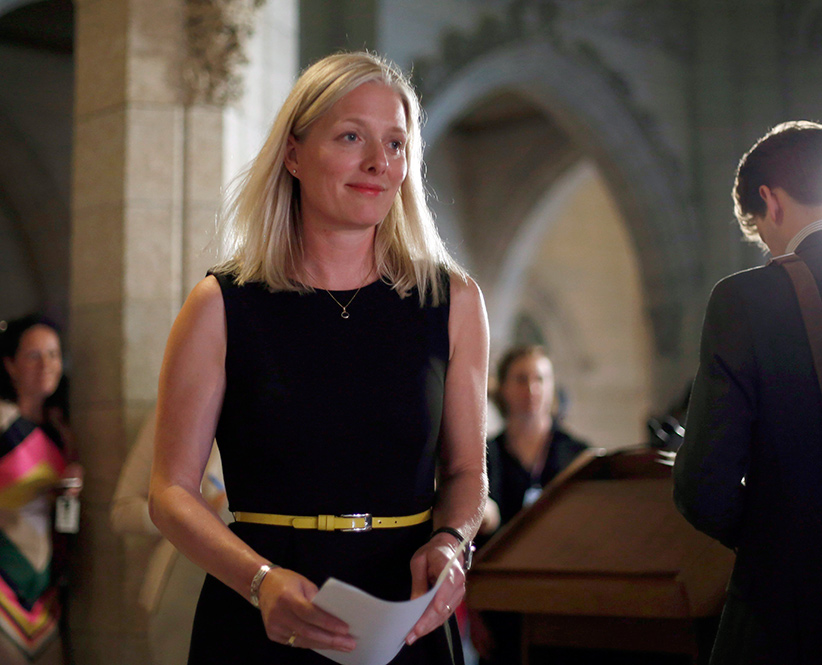 Environment Minister Catherine McKenna concludes a media availability as she makes her way to the House of Commons on Parliament Hill in Ottawa, Thursday, May 18, 2017. (Fred Chartrand/CP)