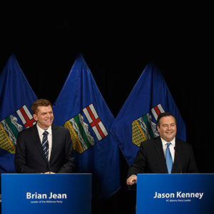 Alberta Wildrose leader Brian Jean and Alberta PC leader Jason Kenney announce a unity deal between the two in Edmonton on Thursday, May 18, 2017. (Jason Franson/CP)