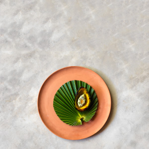 Avocado ice-cream, grilled avocado, ant paste and grilled mandarin skin oil. (Jason Loucas Photography)