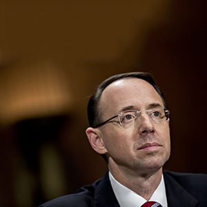 Rod Rosenstein, deputy attorney general nominee for U.S. President Donald Trump, listens during a Senate Judiciary Committee confirmation hearing in Washington, D.C., U.S., on Tuesday, March 7, 2017. The confirmation hearing for Rosenstein began with Republicans and Democrats squaring off over who should lead probes into Russian interference in the 2016 presidential election and potential contacts between Moscow and Trumps campaign team. (Andrew Harrer/Bloomberg/Getty Images)