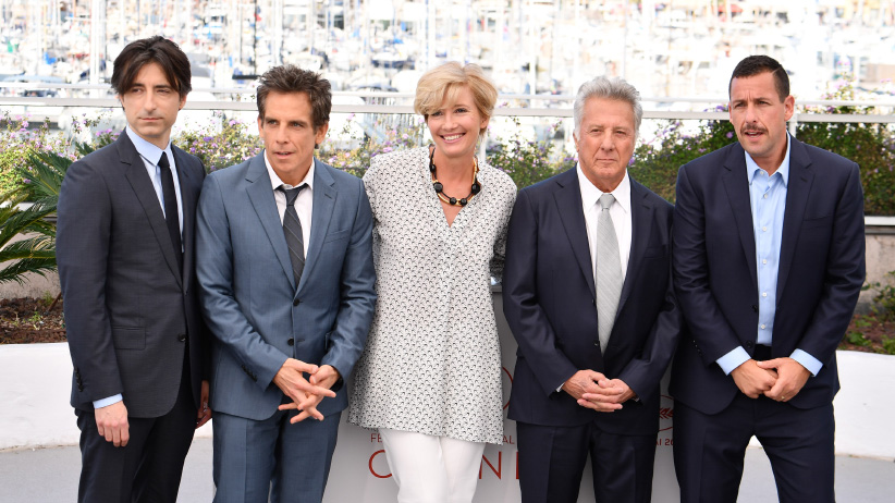 """Director Noah Baumbach with actors Ben Stiller, Emma Thompson, Dustin Hoffman and Adam Sandler attend the """"The Meyerowitz Stories"""" photocall during the 70th annual Cannes Film Festival at Palais des Festivals on May 21, 2017 in Cannes, France. (George Pimentel)"""
