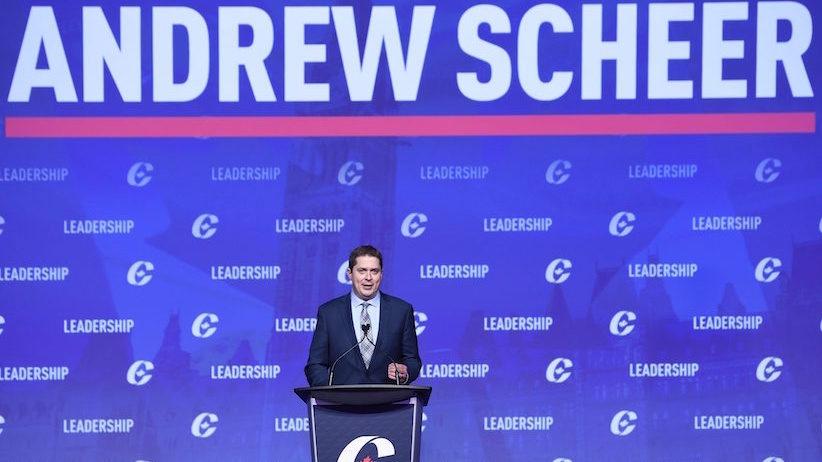 Conservative leadership candidate Andrew Scheer speaks to the crowd during the opening night of the federal Conservative leadership convention in Toronto on Friday, May 26, 2017. A final winner will be picked to lead the Conservative Party of Canada on Saturday night. THE CANADIAN PRESS/Nathan Denette