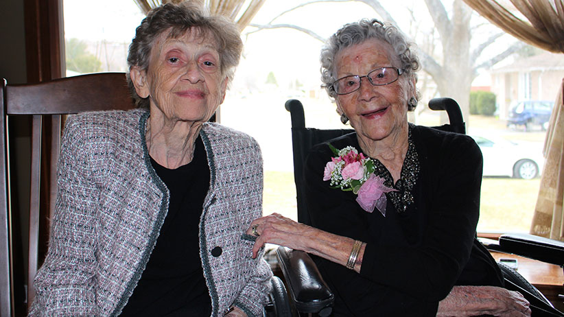 Dolly Gibb on 110th Birthday (right) - with daughter Sue Crozier. (Brittany Duggan)