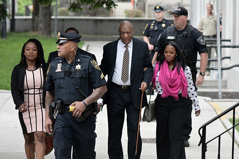 Bill Cosby arrives, sided by Cosby Show actress Keshia Knight Pulliam, at the Montgomery County Courthouse for the start day of the sexual assault Trial in Norristown, Pennsylvania, on June 5, 2017. (Bastiaan Slabbers/NurPhoto/Getty Images)