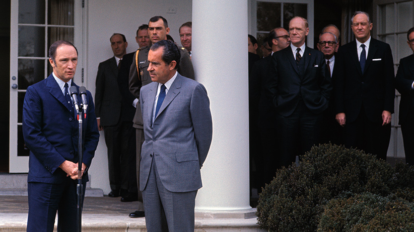 Canadian Prime Minister Pierre Elliot Trudeau speaks outside the White House, 3/25, after concluding talks with President Nixon, right. Trudeau was the first world leader to be officially received at the White House since the new administration took office. (Bettmann/Getty)