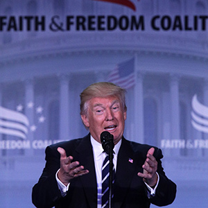 WASHINGTON, DC - JUNE 08:  U.S. President Donald Trump speaks during the Faith & Freedom Coalition's Road to Majority Conference June 8, 2017 in Washington, DC. Former FBI Director James Comey testified at a highly anticipated hearing before the Senate Intelligence Committee at the same time on Capitol Hill regarding his firing by President Trump.  (Alex Wong/Getty Images)