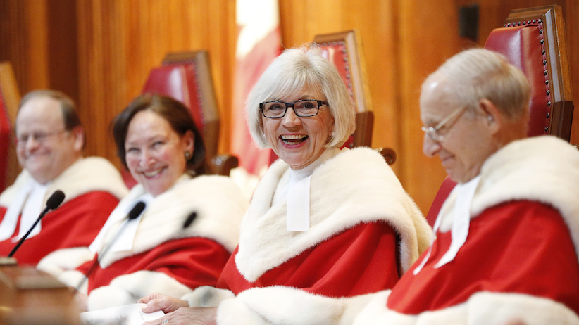 Chief Justice Beverley McLachlin (2nd R) takes part in a ceremony at the Supreme Court of Canada in Ottawa February 10, 2015. REUTERS/Blair Gable (CANADA) - RTR4P2K9