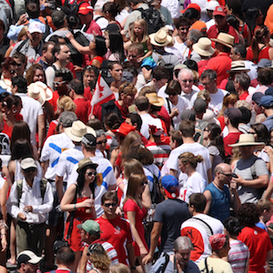 """Ottawa, Canada - July 1, 2011: People crowd the streets during Canada Day in downtown Ottawa, Ontario. Canada Day is celebrated annually and is a national holiday."""
