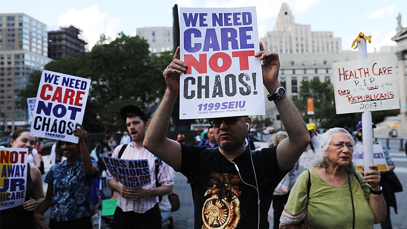 People protest against the Senate healthcare bill  on June 28, 2017 in New York City. The vote on the bill, which would make drastic cuts in medicaid among other changes, was postponed on Tuesday as Republican leadership seek to persuade fellow Republicans to vote for the plan. Currently, nine senators have said they will not support the bill, and the party can only afford to lose two for it to pass.  (Spencer Platt/Getty Images)