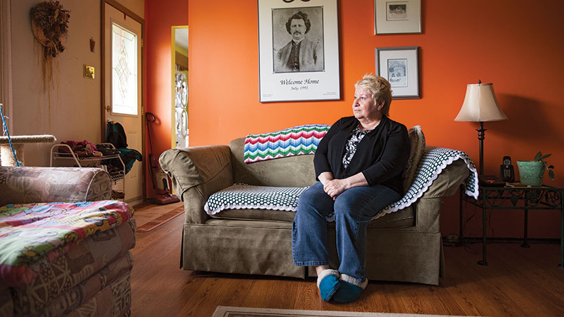 Ginette Abraham at her home in Winnipeg. (Photograph by Réjean Brandt)