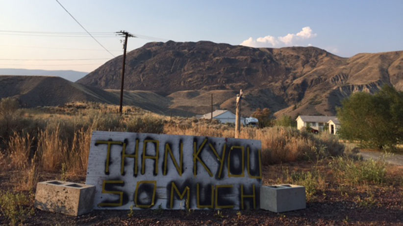 Carmen Jacobsen put this sign up at the end of her driveway in Cache Creek, B.C. (Nancy Macdoland)