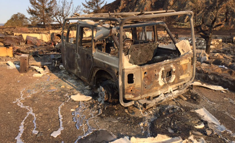A burnt Jeep belonging to an RCMP officer who lives in Cache Creek. (Nancy Macdonald)