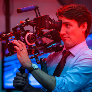 "Justin Trudeau, Canada's prime minister, films a motion capture scene during a visit to the Electronic Arts Canada Inc. Capture Lab in Burnaby, British Columbia, Canada, on Thursday, May 18, 2017. Trudeau's government revealed a ""backstop"" plan Thursday in Ottawa that would essentially force the minimum carbon price he announced last year onto holdouts. Photographer: Ben Nelms/Bloomberg via Getty Images"