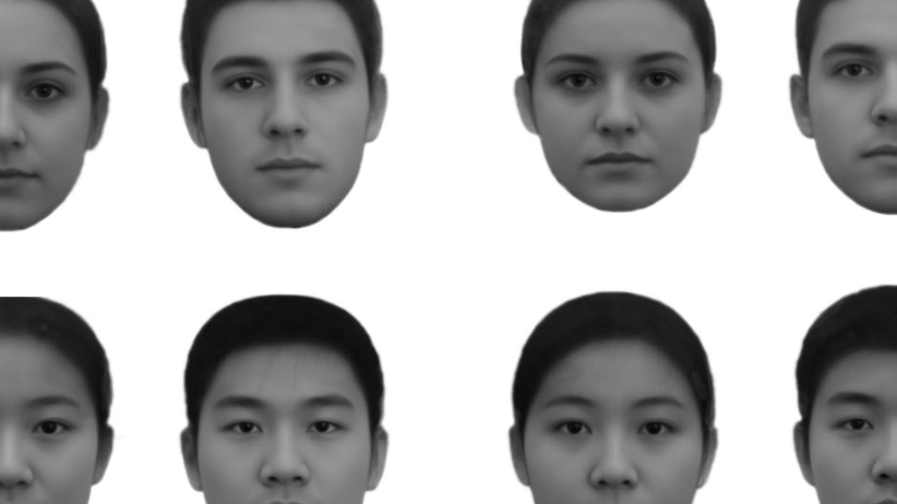 Facial cues to Social Class. Composite images used in Study 5A: (A) rich Full Composites, (B) poor Full Composites, (C) rich Best Composites, (D); poor Best Composites; Caucasian female, Caucasian male, East Asian male, and East Asian female faces presented clockwise from the top-left corner with each array. (Thora Bjornsdottir and Nicholas Rule/University of Toronto)