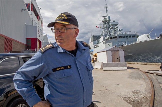 Rear Admiral John Newton, Commander of MARLANT and JTF Atlantic, arrives to speak with reporters at HMC Dockyard in Halifax, NS Tuesday July 4, 2017. The military says five men involved in a filmed confrontation at an Indigenous ceremony in Halifax are members of the Canadian Armed Forces, and any misconduct will be addressed. THE CANADIAN PRESS