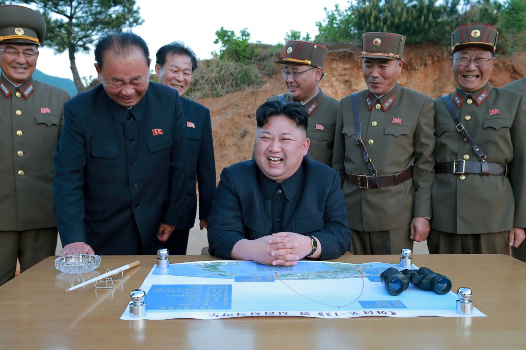 North Korean leader Kim Jong Un reacts during the long-range strategic ballistic rocket Hwasong-12 (Mars-12) test launch in this undated photo released by North Korea's Korean Central News Agency (KCNA) on May 15, 2017. (KCNA/Reuters)