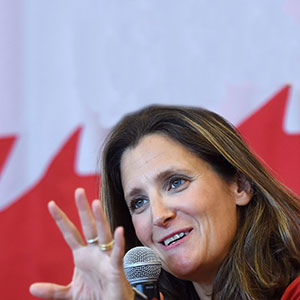 Foreign Affairs Minister Chrystia Freeland discusses modernizing NAFTA at public forum at the University of Ottawa in Ottawa on Monday, Aug. 14, 2017. (Sean Kilpatrick/CP)