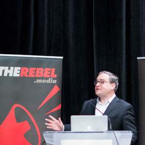 Ezra Levant speaks at a Rebel Media event. (Photograph by Chris Bolin)