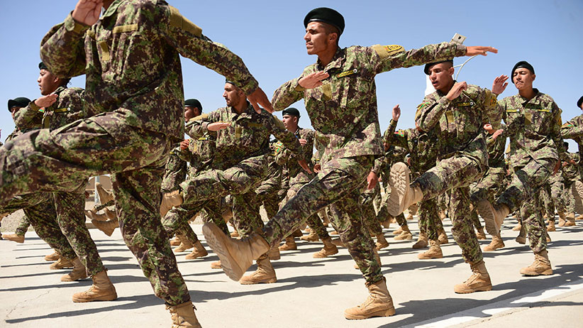 Afghan National Army (ANA) soldiers march during a ceremony for the completion of their training at a military base in Herat on May 29, 2017. (Hoshang Hashimi/AFP/Getty Images)