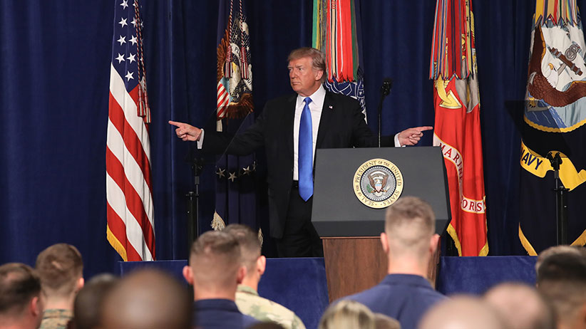 U.S. President Donald Trump gestures before delivering remarks on Americas military involvement in Afghanistan at the Fort Myer military base on August 21, 2017 in Arlington, Virginia. (Mark Wilson/Getty Images)