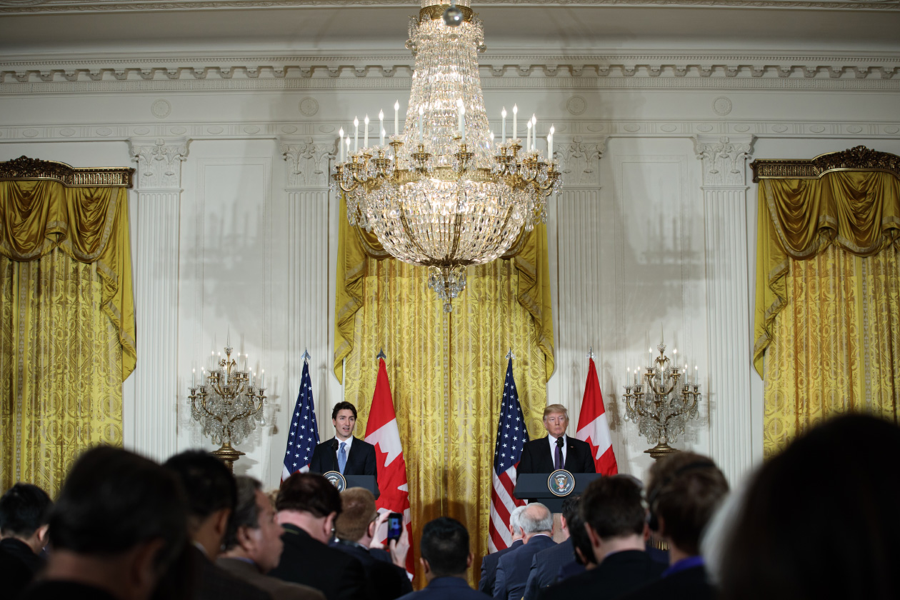 Prime Minister Trudeau and President Trump hold a joint press conference at the White House. February 13, 2017. (Adam Scotti/PMO)