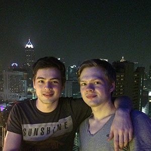 Alex and Tim in Bangkok in 2011. (Tim and Alex Vavilov)