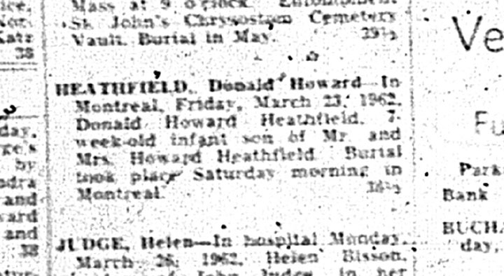 Donald Heathfield's death notice, March 1962