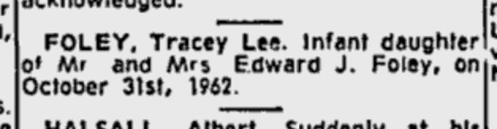 Tracey Lee Foley's death notice, 1962.