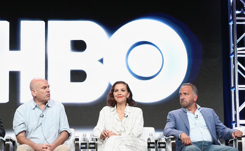 David Simon (left), Maggie Gyllenhaal (centre), and George Pelecanos (right) of 'The Deuce' speak onstage during the HBO portion of the 2017 Summer Television Critics Association Press Tour at The Beverly Hilton Hotel on July 26, 2017 in Beverly Hills, California. (Photo by Frederick M. Brown/Getty Images)