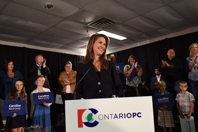 Caroline Mulroney speaks after being named as the Ontario Progressive Conservatives nominee for the riding of York-Simcoe in Toronto on Sunday, Sept. 10, 2017. THE CANADIAN PRESS/HO - Caroline Mulroney Campaign